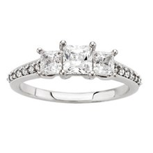 Three Stone Princess-Cut & Pave Engagement Ring - top view