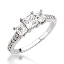 Three Stone Princess-Cut & Pave Engagement Ring
