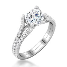 Secret Halo & Double Band Engagement Ring