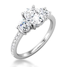 Three Stone Oval & Round-Cut Engagement Ring