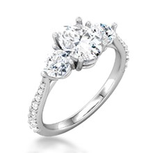 Three Stone Oval Center & Tapered Pave Engagement Ring