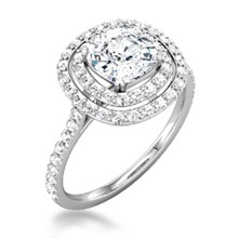 Double Cushion Halo Pave Engagement Ring