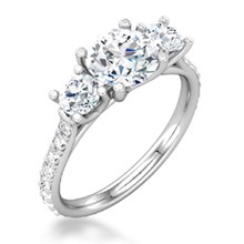 Three Stone Trellis Pave Engagement Ring