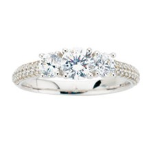 Three Stone Pave a Trois Engagement Ring - top view