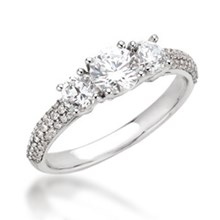 Three Stone Pave a Trois Engagement Ring
