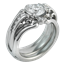 Carved Curls Engagement Ring with Tapering Diamonds and Enhancer