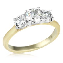 Three Stone Round Cut Engagement Ring