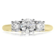 Three Stone Round Cut Engagement Ring - top view