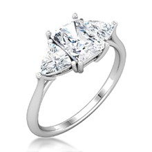 Three Stone Radiant & Trillion Cut Engagement Ring