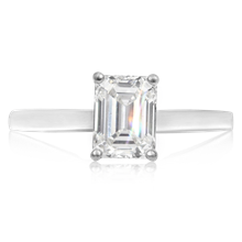 Emerald Cut Solitaire Engagement Ring - top view