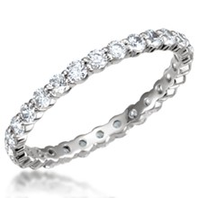 Shared Prong Wedding Band- 2mm Diamonds