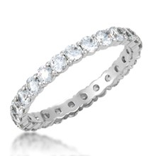 Shared Prong Wedding Band- 2.4mm Diamonds