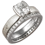 Mokume Solitaire Tapered Engagement Ring with Cushion-Cut Diamond