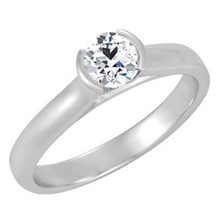 Round Semi-Bezel Solitaire Engagement Ring