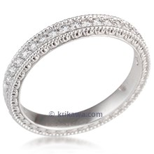 Narrow Vintage Diamond Wedding Band