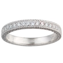 Narrow Vintage Diamond Wedding Band  - top view