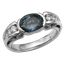Carved Curls Engagement Ring with Tapering Diamonds and Blue Sapphire