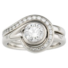 Diamond Swirl Enhancer Engagement Ring - top view
