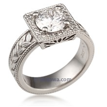 Engraved Vintage Modern Square Engagement Ring