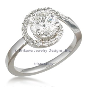 Delicate Pave Swirl Engagement Ring