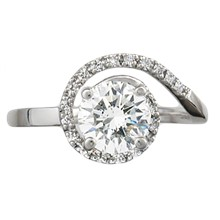 Delicate Pave Swirl Engagement Ring - top view