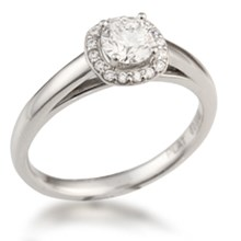 Cathedral Cushion Halo Pave Engagement Ring