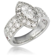 Wide Marquise Halo Pave Engagement Ring