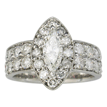 Wide Marquise Halo Pave Engagement Ring - top view
