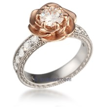Wide Vintage Rose Engagement Ring
