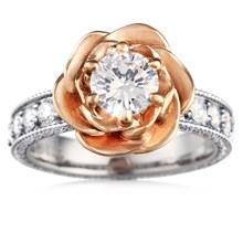 Wide Vintage Rose Engagement Ring - top view