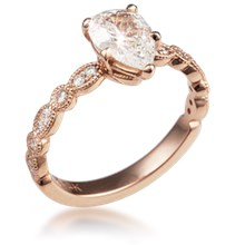 Pear Millegrained Pave Engagement Ring