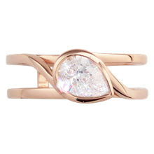 Pear Swirl Scaffold Engagement Ring  - top view