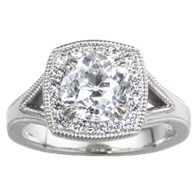 Cushion Halo Split Shank Engagement Ring  - top view