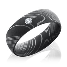 Damascus Steel Band with 0.05ct Diamond