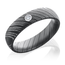 Damascus Steel Band with 0.03ct Diamond