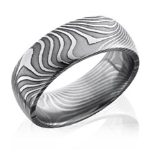 Flat Twist Damascus Steel Rounded Band