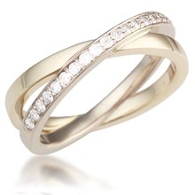 Pave Layered Crossover Wedding Band