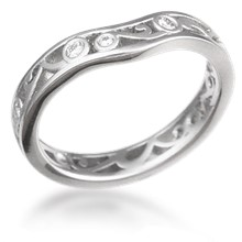 Modern Curlicue Wedding Band