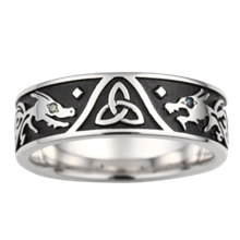 Dragon Celtic Trinity Wedding Band - top view