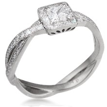 Millegrain Pave Twist Engagement Ring