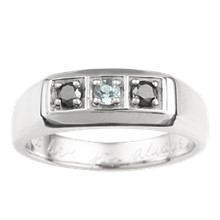 Bead Set Three Stone Mens Ring - top view