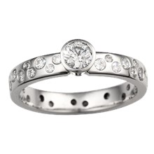 Scattered Diamond Engagement Ring - top view