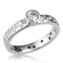 Scattered Diamond Engagement Ring