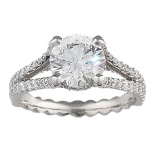 Secret Halo & Rope Twist Band Engagement Ring - top view