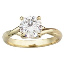 Twisted Solitaire Engagement Ring - top view