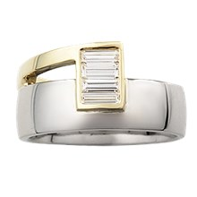Modern Two Tone Baguette Wedding Band - top view