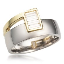 Modern Two Tone Baguette Wedding Band