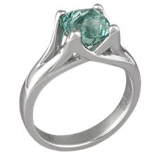 Carved Wing Engagement Ring with Green Tourmaline