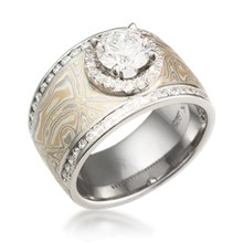 Mokume Double Diamond Halo Ring