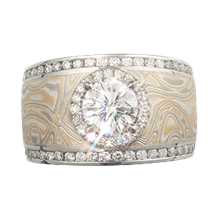 Mokume Double Diamond Channel & Halo Wedding Band - top view